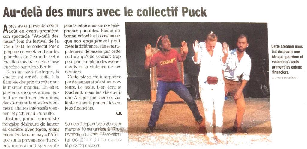 """Article de presse du Dauphiné Libéré à propos de la pièce """"Au-delà des murs"""""""