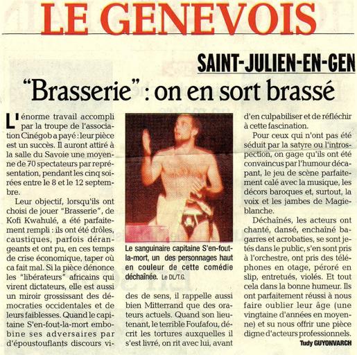 Article de presse du Dauphiné Libéré à propos du spectacle Brasserie (2010)