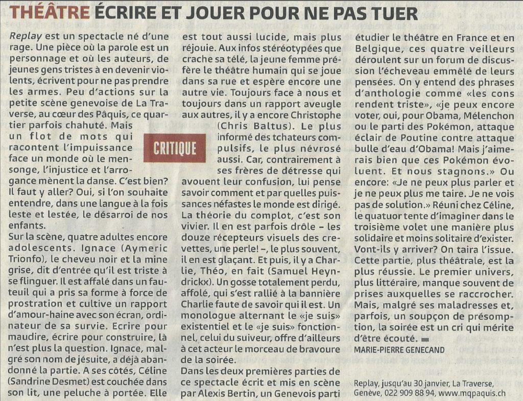 """Article de journal """"Le Temps"""" (janvier 2016) à propos du spectacle Replay"""
